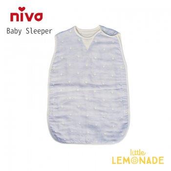 【niva】6重ガーゼドットスリーパー/ ブルー 寝袋 ベビー布団 スリープバック 男の子 出産祝い (241BLU)