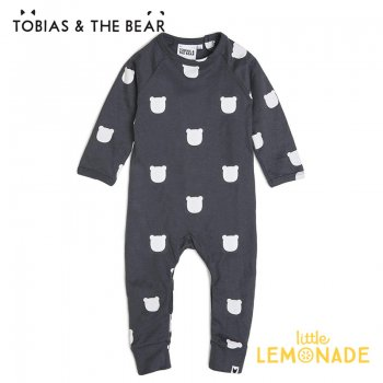 <img class='new_mark_img1' src='https://img.shop-pro.jp/img/new/icons1.gif' style='border:none;display:inline;margin:0px;padding:0px;width:auto;' />【Tobias & The Bear】 チャコールベアー カバーオール  【3-6/6-12/12-18/18-24か月】 Charcoal Bear long romper (CHBELR)