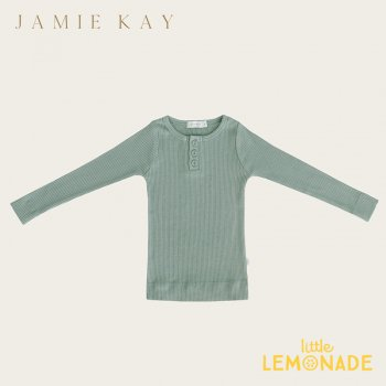 <img class='new_mark_img1' src='https://img.shop-pro.jp/img/new/icons1.gif' style='border:none;display:inline;margin:0px;padding:0px;width:auto;' />【Jamie Kay】 Essential ORGANIC COTTON HENLEY - HAZE  【1歳/2歳/3歳】 トップス 長袖シャツ グリーン