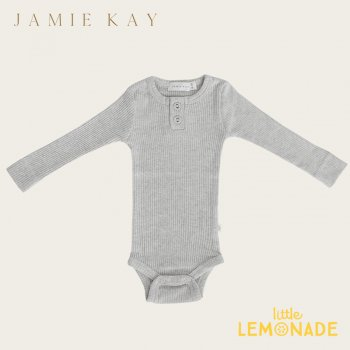 <img class='new_mark_img1' src='https://img.shop-pro.jp/img/new/icons1.gif' style='border:none;display:inline;margin:0px;padding:0px;width:auto;' />【Jamie Kay】 Essential ORGANIC COTTON RIBBED BODYSUIT- LIGHT GREYMARLE 【6-12か月/1歳】 ロンパース ボディ