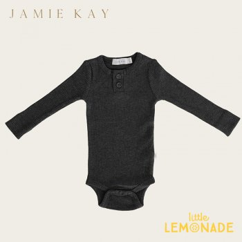 <img class='new_mark_img1' src='https://img.shop-pro.jp/img/new/icons1.gif' style='border:none;display:inline;margin:0px;padding:0px;width:auto;' />【Jamie Kay】 Essential ORGANIC COTTON RIBBED BODYSUIT- DARK GREYMARLE 【6-12か月/1歳】 ロンパース ボディ