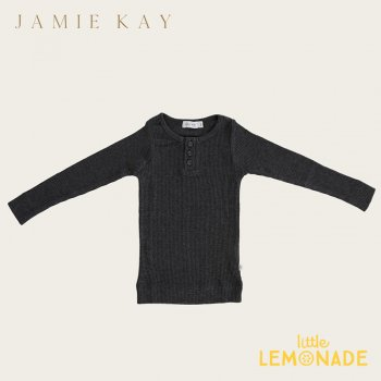 <img class='new_mark_img1' src='https://img.shop-pro.jp/img/new/icons1.gif' style='border:none;display:inline;margin:0px;padding:0px;width:auto;' />【Jamie Kay】 Essential ORGANIC COTTON HENLEY - DARK GREY MARLE 【1歳/2歳/3歳】 トップス 長袖シャツ ダークグレー