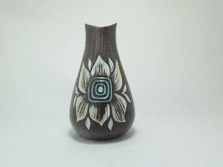 花柄の花瓶 茶【お取り置き品】