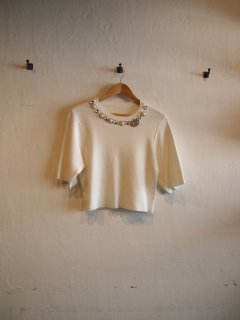 Spring knit TOPS (WHT/BLK)