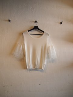 Summer knit frill TOPS (WHT)