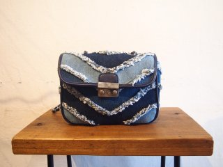 Clash denim design shoulder bag