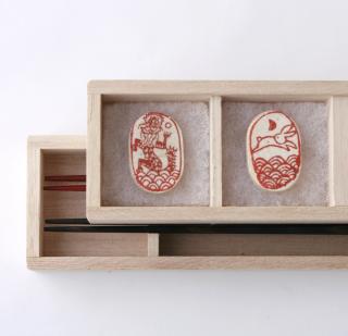 遊印箸置きと夫婦箸セット 兎と龍