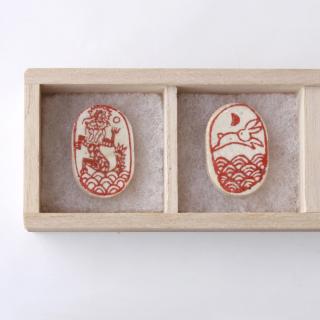 遊印 箸置き(2個) 兎と龍