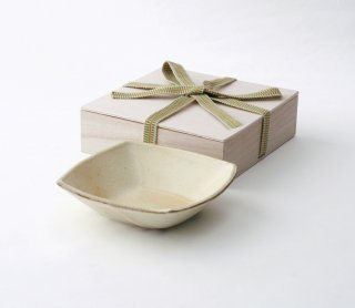 灰釉 角小鉢