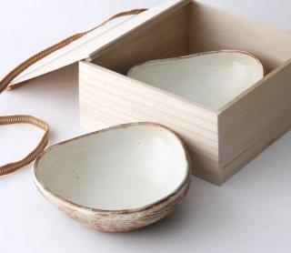 渕荒横彫 三角鉢(M) 2枚セット