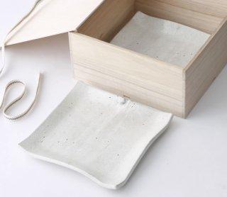 粉引 正角皿(L) 2枚セット