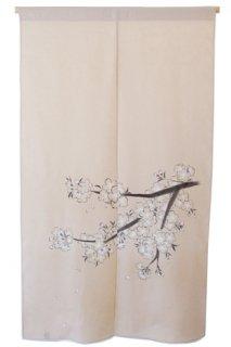 手描き麻「枝桜」縦150cm×横90cm
