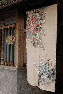 手描き麻「風神雷神」縦150cm×横90cm