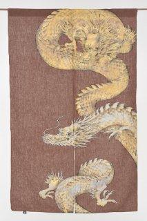 手描き麻「金龍×銀龍」縦150cm×横90cm