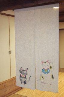 手描き麻「招き猫と黒猫」縦150cm×横90cm