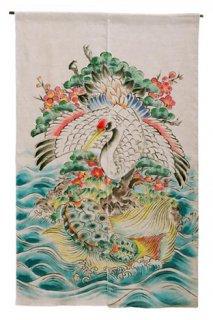 手描き麻「松竹梅と鶴亀」縦150cm×横90cm