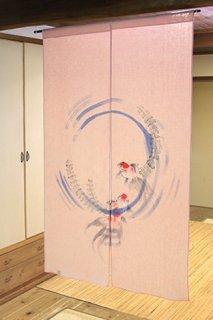 手描き麻「水面にきんぎょ」縦150cm×横90cm