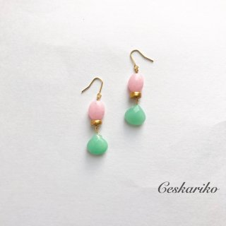 Contrast pierce(earring)〜PINK and GREEN〜