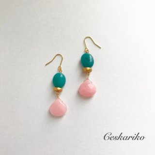 Contrast pierce(earring)〜GREEN and PINK〜
