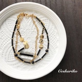 BLACK×GOLD Antique style bracelet
