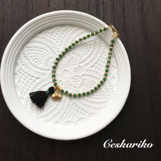 Mini tassel bracelet〜GREEN〜