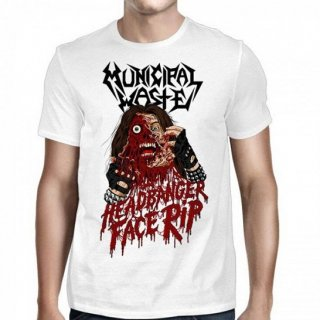MUNICIPAL WASTE Headbanger Face Rip White, Tシャツ