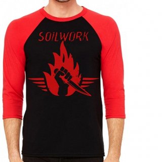 SOILWORK Stabbing the Drama Red & Black, ラグラン七分袖シャツ