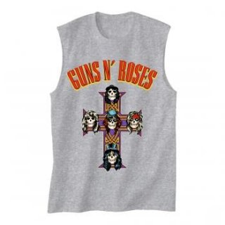 GUNS N' ROSES Arched Logo Cross, ノースリーブTシャツ (メンズ)