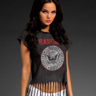RAMONES Seal Fringe Top, レディースTシャツ