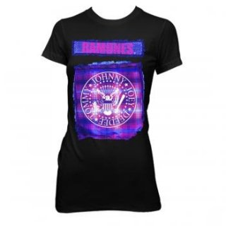 RAMONES Bright Plaid Seal, レディースTシャツ