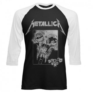 METALLICA Damage Detail Inversed BLACK/WHITE, ラグラン七分袖シャツ