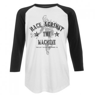 RAGE AGAINST THE MACHINE Battle WHITE/BLACK, ラグラン七分袖シャツ