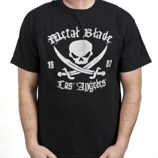 METAL BLADE RECORDS Pirate Logo Silver on Black, Tシャツ