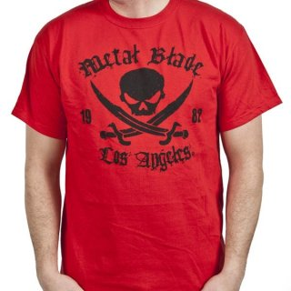 METAL BLADE RECORDS Pirate Logo Black on Red, Tシャツ