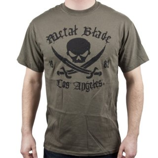 METAL BLADE RECORDS Pirate Logo Black on Military Green, Tシャツ