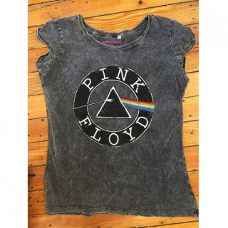 PINK FLOYD Vintage Circle Logo With Acid Wash Finish, レディースTシャツ