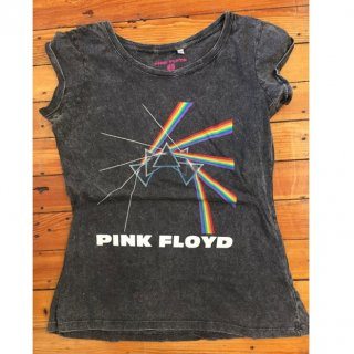 PINK FLOYD Multi-Logo With Acid Wash Finish, レディースTシャツ