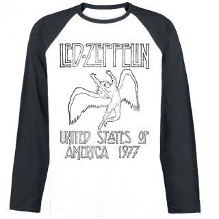 LED ZEPPELIN Usa 77 White / Black, ラグランロングTシャツ