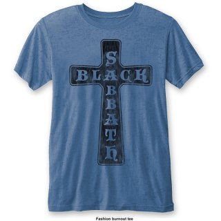 BLACK SABBATH Vintage Cross (Burn Out)/mid-blue, Tシャツ