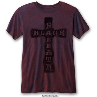 BLACK SABBATH Vintage Cross (Burn Out)/navy blue & red, Tシャツ