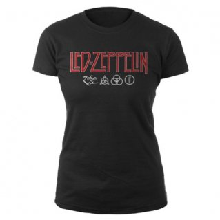 LED ZEPPELIN Logo and Symbol Black, レディースTシャツ
