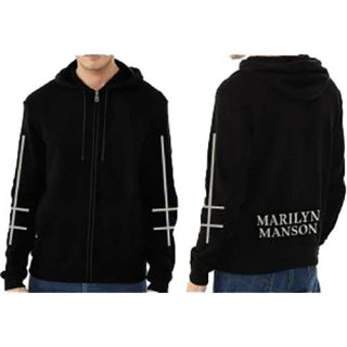 MARILYN MANSON Cross Logo, Zip-Upパーカー