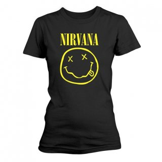 NIRVANA Smiley Logo, レディースTシャツ<img class='new_mark_img2' src='//img.shop-pro.jp/img/new/icons5.gif' style='border:none;display:inline;margin:0px;padding:0px;width:auto;' />