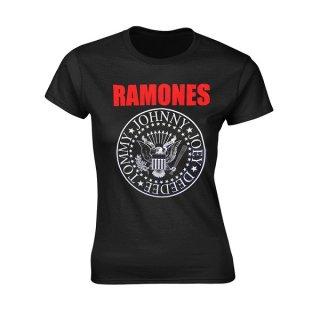 RAMONES Red Text Seal Logo, レディースTシャツ