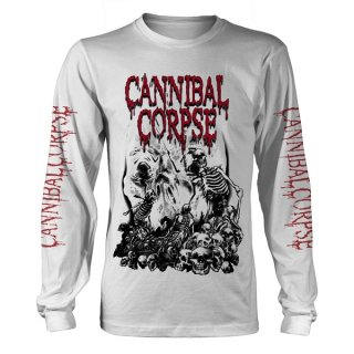 CANNIBAL CORPSE Pile Of Skulls 2018 Wht, ロングTシャツ