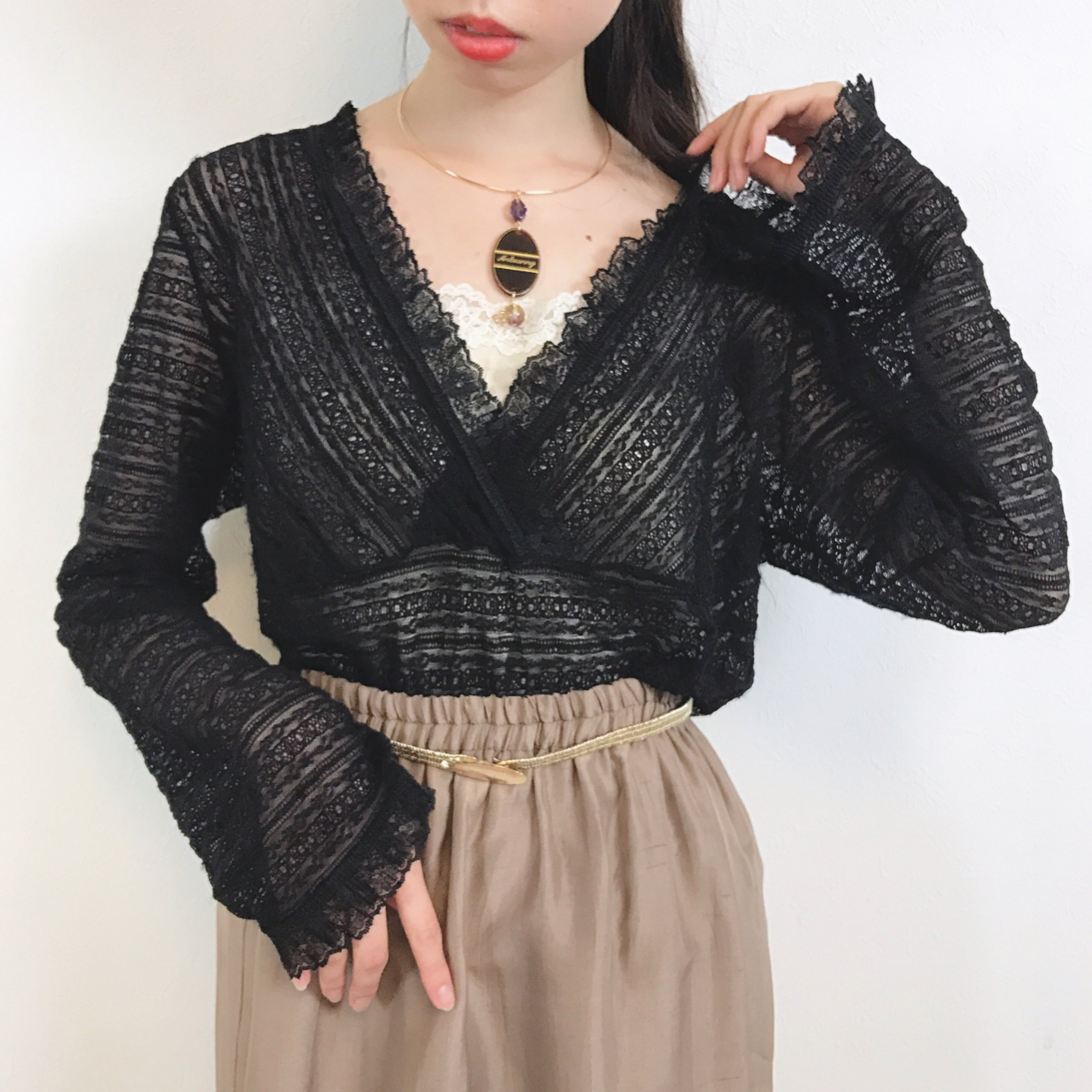 black stretch lace pullover
