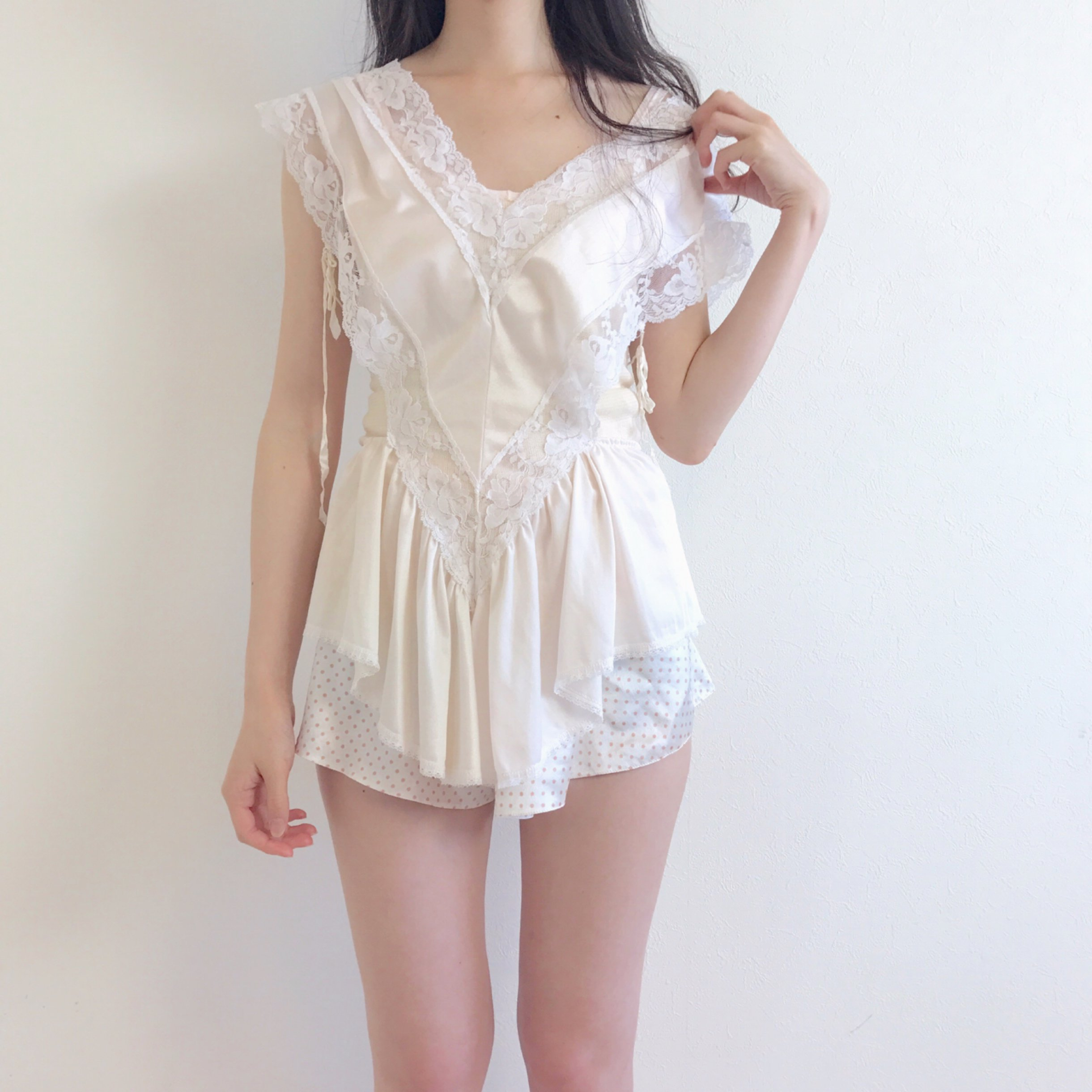 milk white lingerie rompers