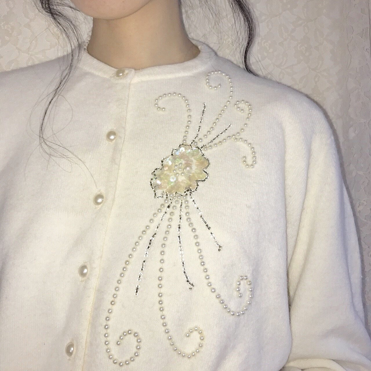 white flower pearl cardigan