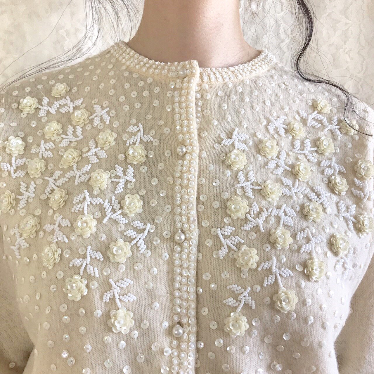 white rose garden cardigan