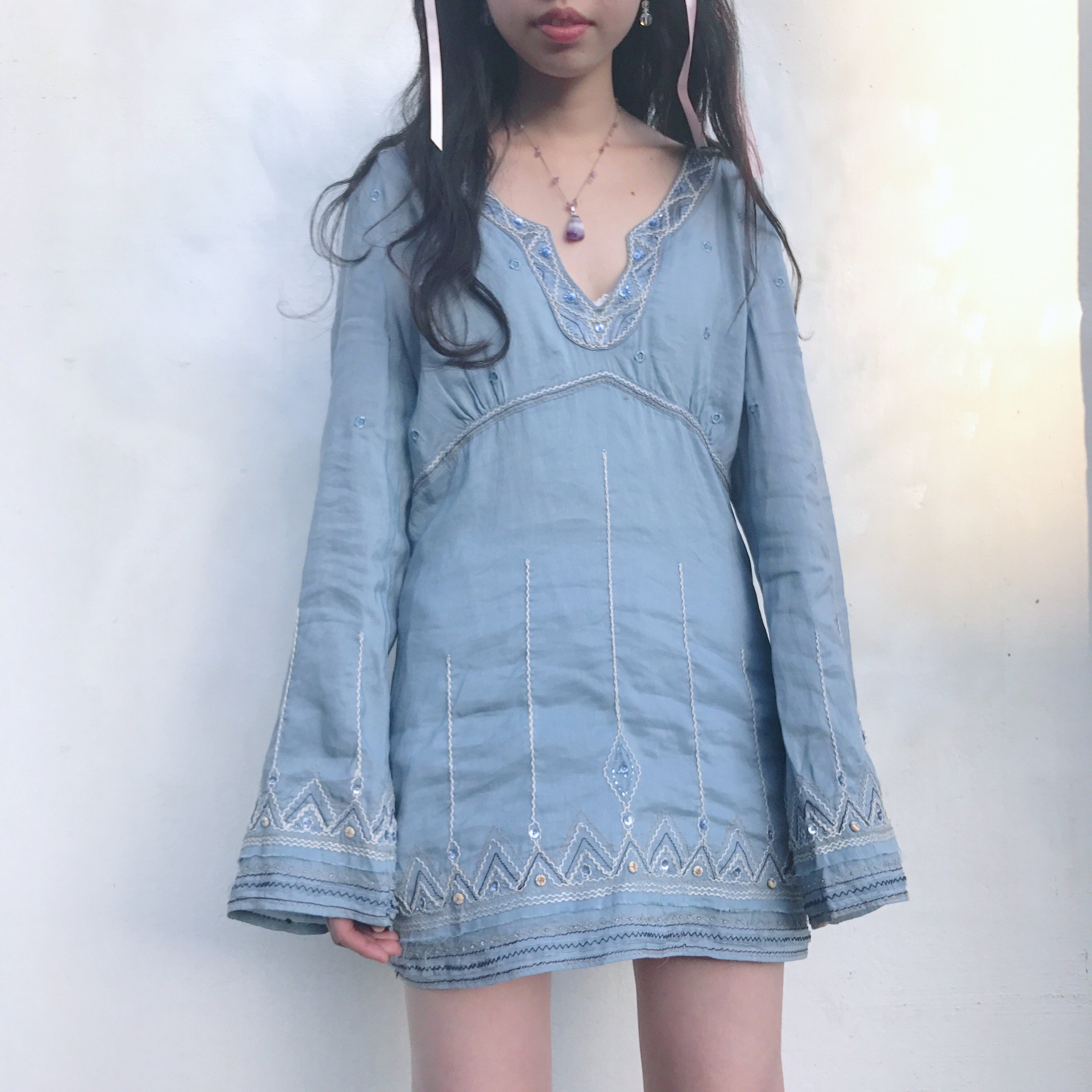 gray blue bijou tunic one piece